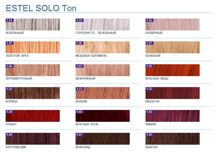 Палитра цветов тоников для окрашивания волос