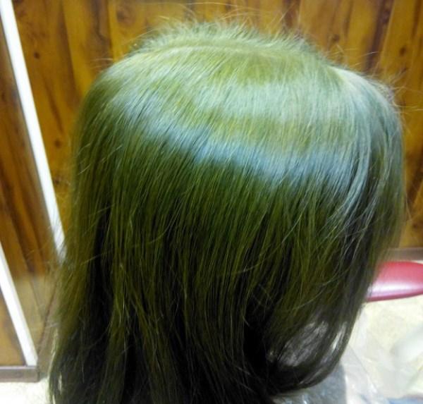 Возможный результат окрашивания светлых волос аммиачной краской после хны